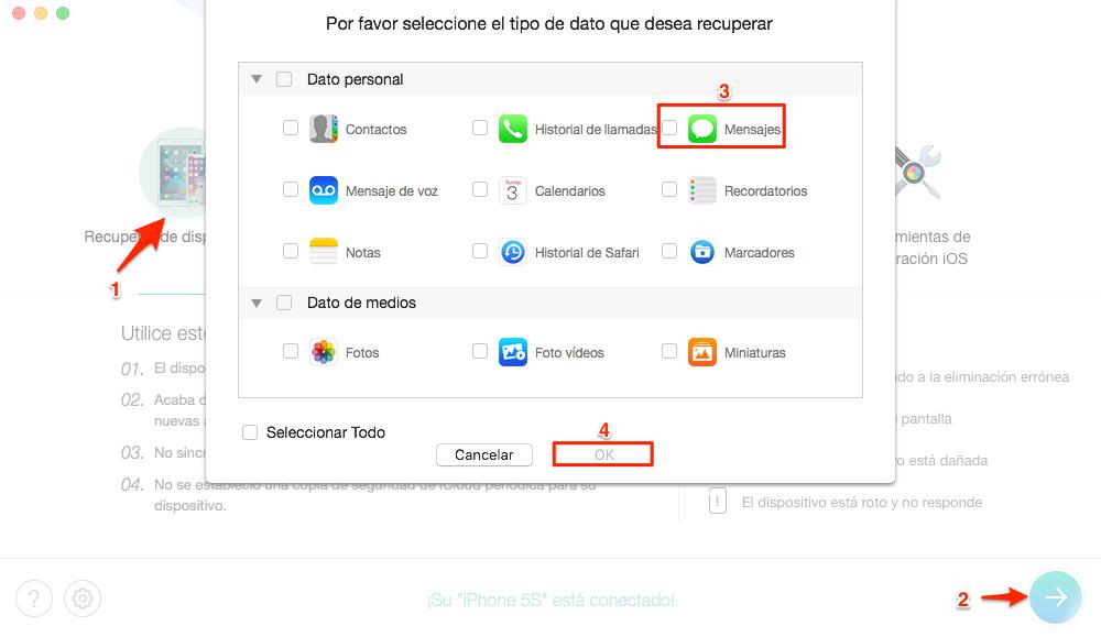 Cómo recuperar mensajes borrados de iPhone - Paso 2