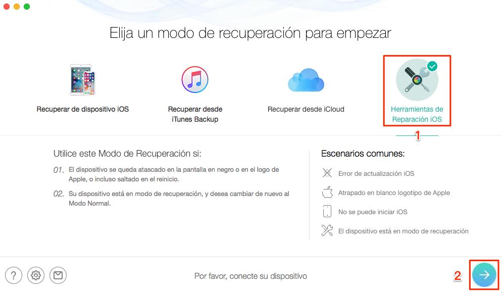 Cómo recuperar tu iPhone en modo anormal - Paso1