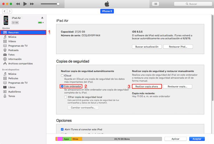 iPhone está desactivado conectarse a iTunes - Paso 2