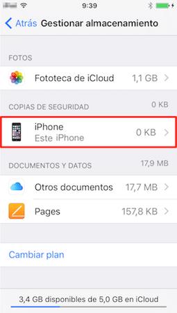 Comprueba copia de seguridad iCloud