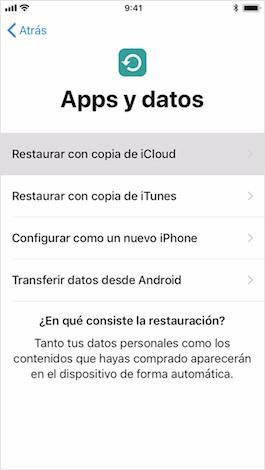 Cómo restaurar copia de seguridad iCloud en iPhone