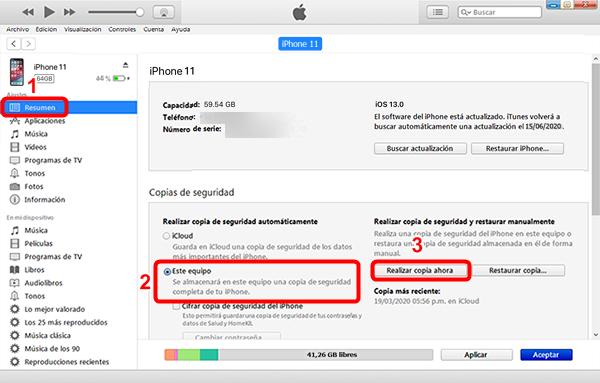 Cómo hacer copia de seguridad de los mensajes del iPhone con iTunes