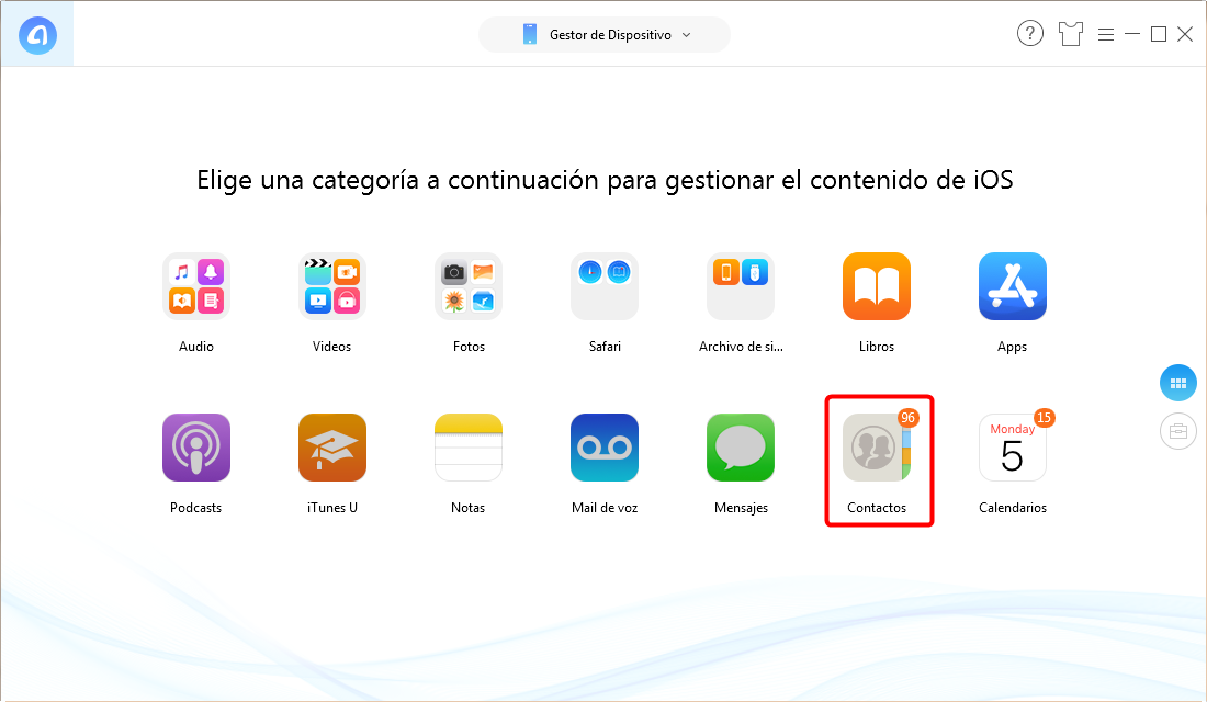 Cómo copiar contactos de iPhone a PC - Paso 2