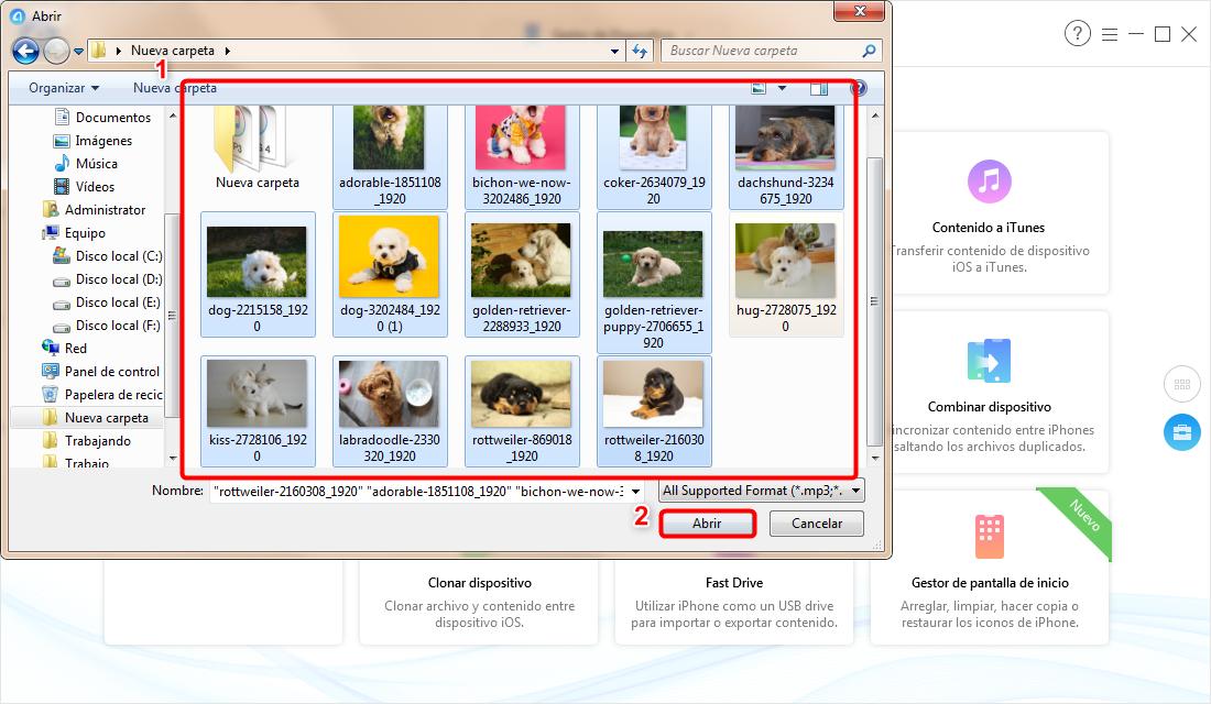 Cómo copiar fotos de PC a iPhone - Paso 2