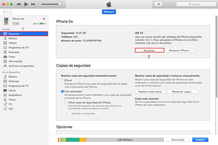 Actualizar a iOS 12 con iTunes