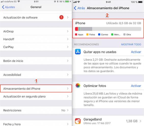 Antes de realizar actualización iOS 12 – Comprueba el espacio libre