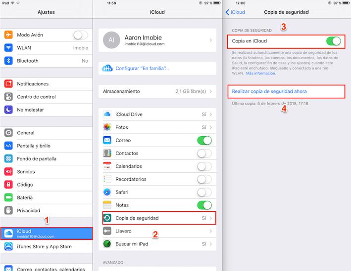 Antes de actualizar a iOS 12 – Hacer copia de seguridad en iCloud