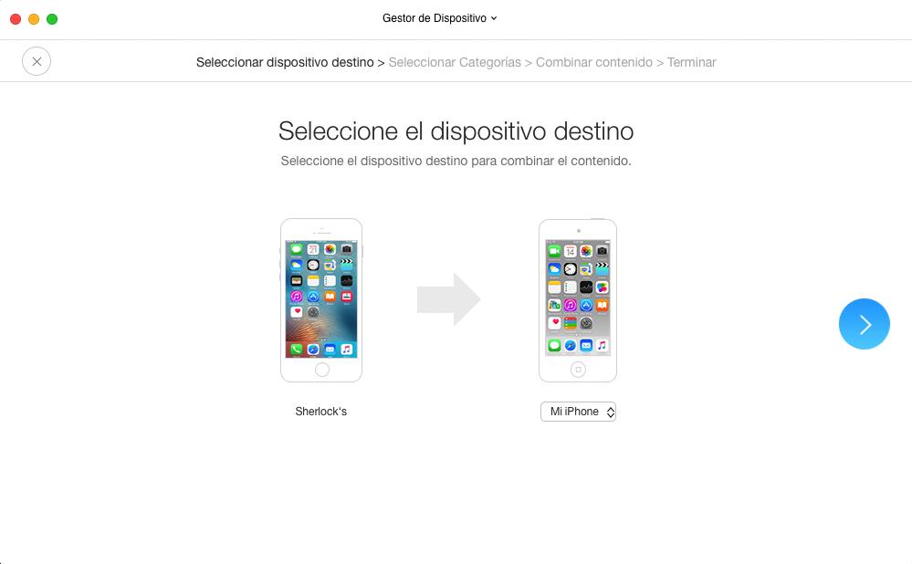 Cómo pasar SMS de iPhone a iPhone con AnyTrans para iOS - Paso 2