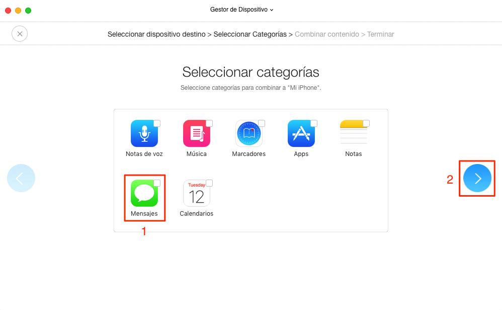 Cómo pasar SMS de iPhone a iPhone con AnyTrans para iOS - Paso 3