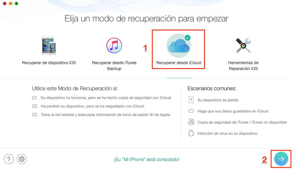 Descargar copia de seguridad iCloud sin límite - Paso 1