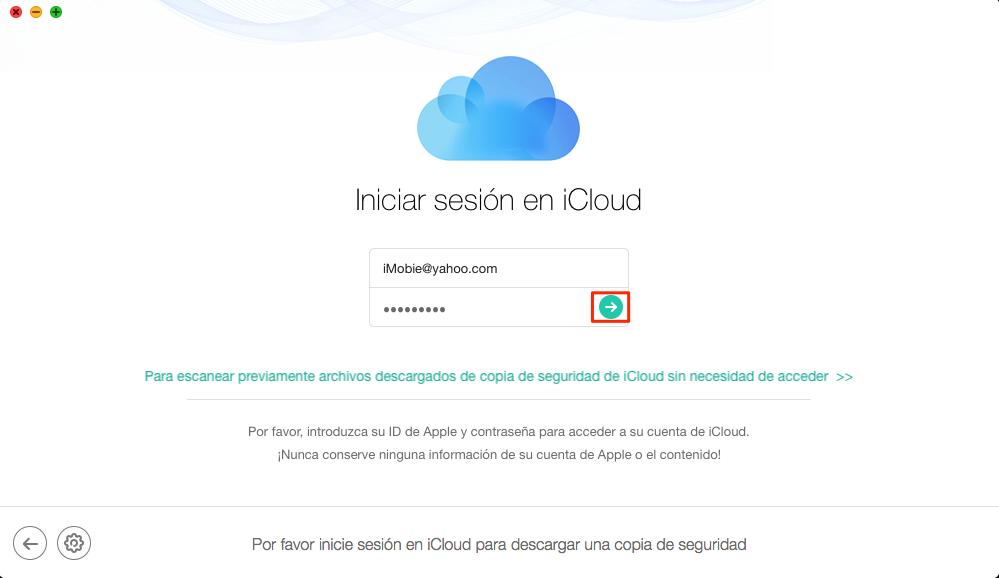 Cómo extraer los mensajes de texto desde iCloud Backup- Paso 2