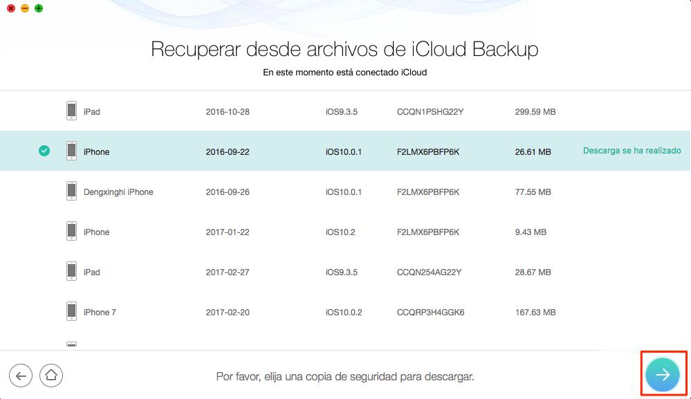 Descargar copia de seguridad iCloud sin límite - Paso 3