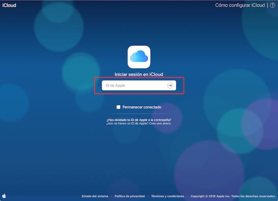 Descargar copia de seguridad de iCloud a PC en iCloud.com - Paso 1