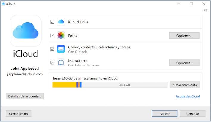 Descargar respaldo de iCloud a PC en Panel de Control iCloud