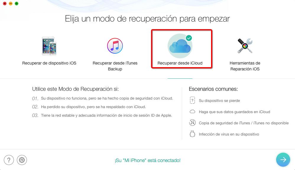 Cómo descargar Copia de seguridad de iCloud con PhoneRescue – Paso 1
