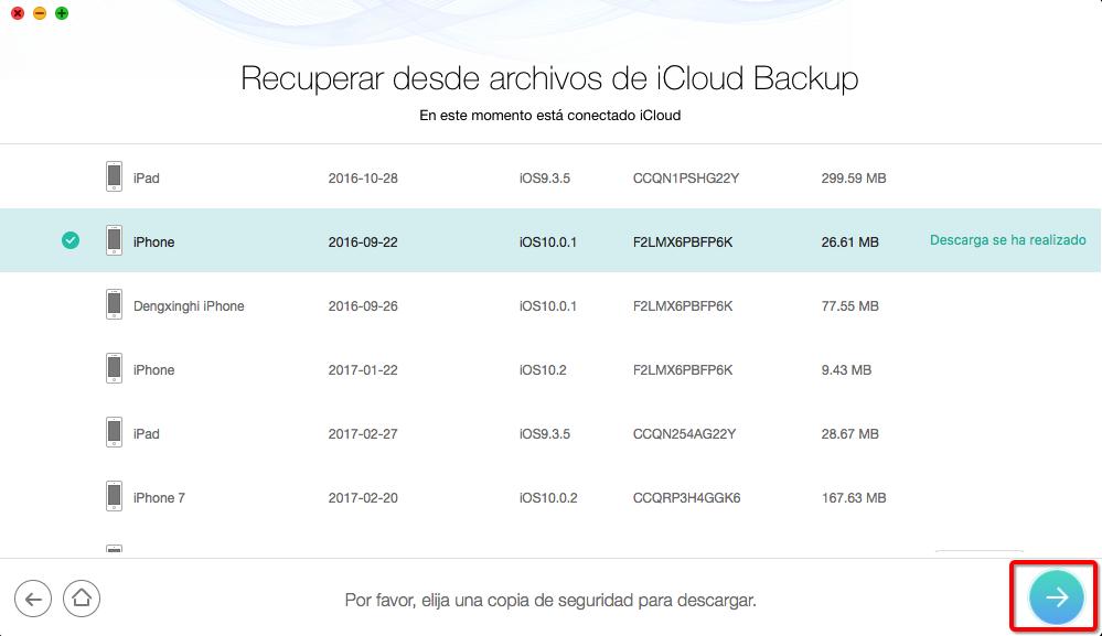 Cómo descargar Copia de seguridad de iCloud con PhoneRescue – Paso 3