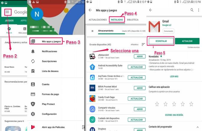Desinstalar una App de Android desde Google Play