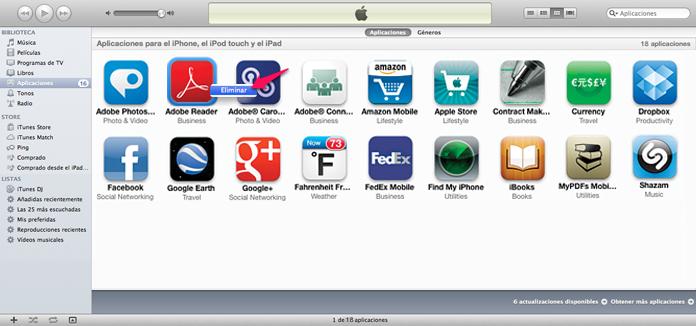Desinstalar aplicaciones con iTunes