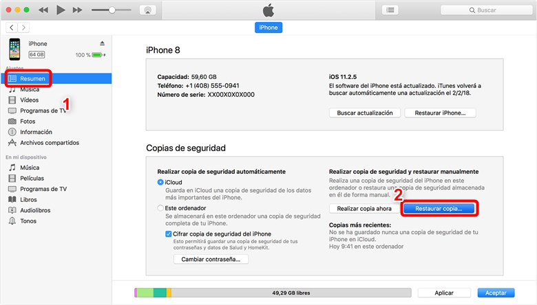 Recuperar datos perdidos de iOS 12/ iOS 12.1.2 de iPhone con iTunes