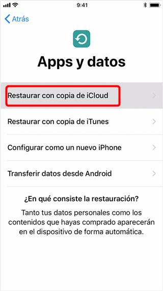 Recuperar datos perdidos de iOS 12/ iOS 12.1.2 de iPhone con iCloud