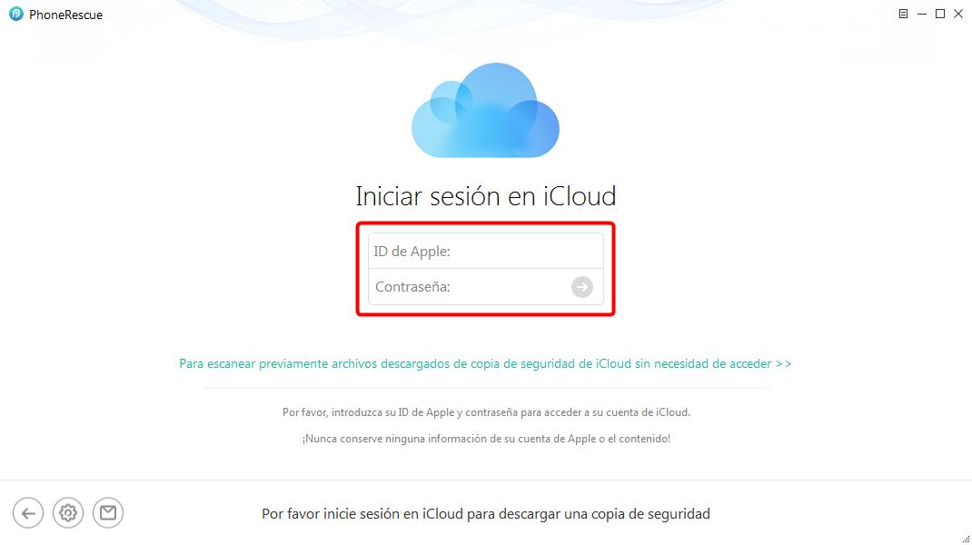 Iniciar sesión en iCloud