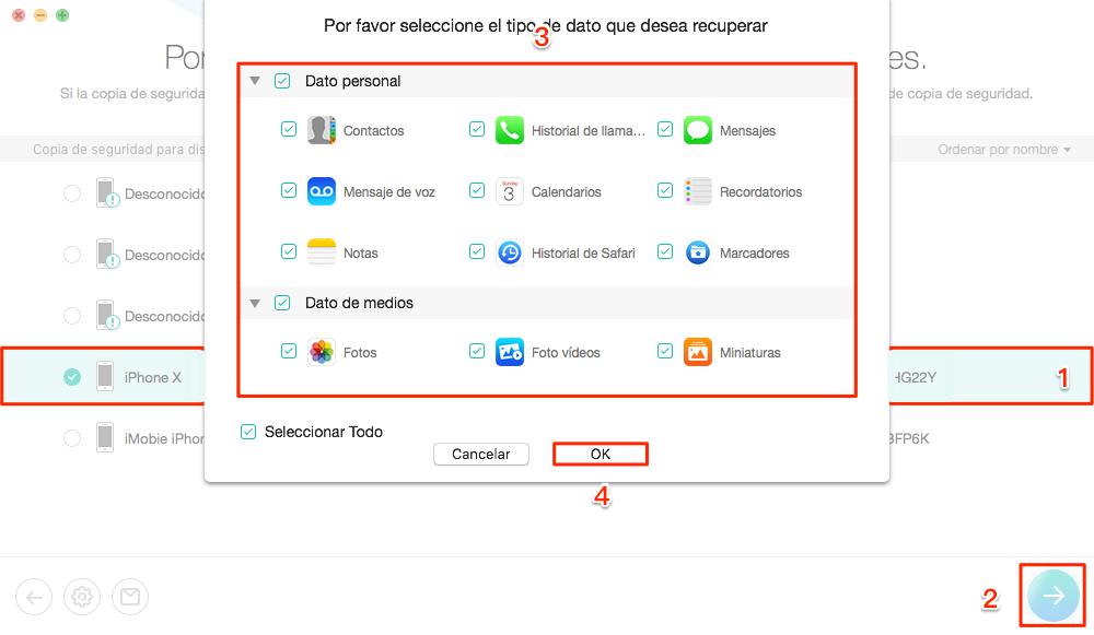 Cómo recuperar copia de seguridad iPhone sin límite - Paso 2