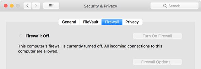 Deshabilitar el Cortafuegos en Mac