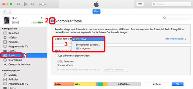 Pasar fotos del iPad a la PC con iTunes