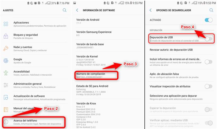 Habilitar la depuración USB de Android desde el teléfono
