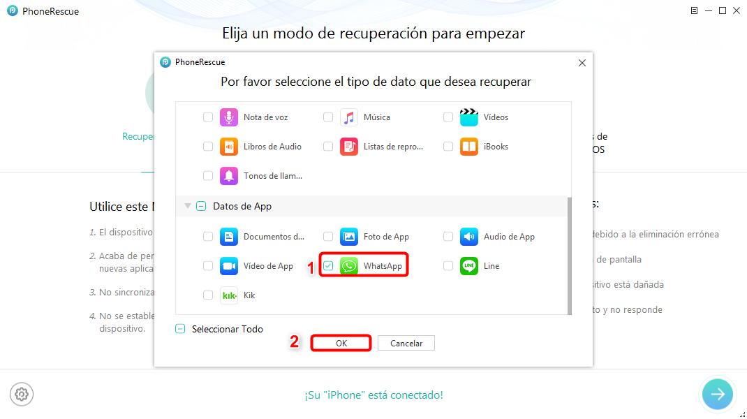 Hacer copia de seguridad de WhatsApp de iPhone en ordenador - Paso 2