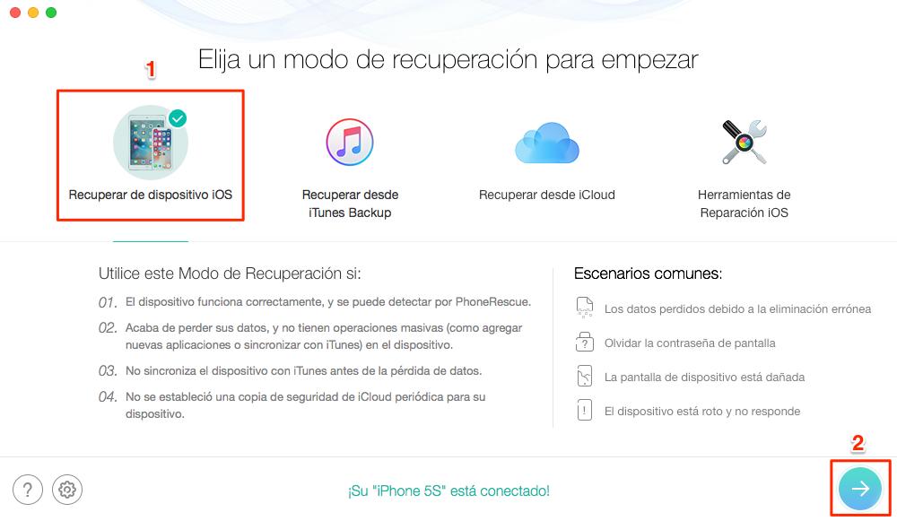 Cómo recuperar datos de iPhone - Paso 2