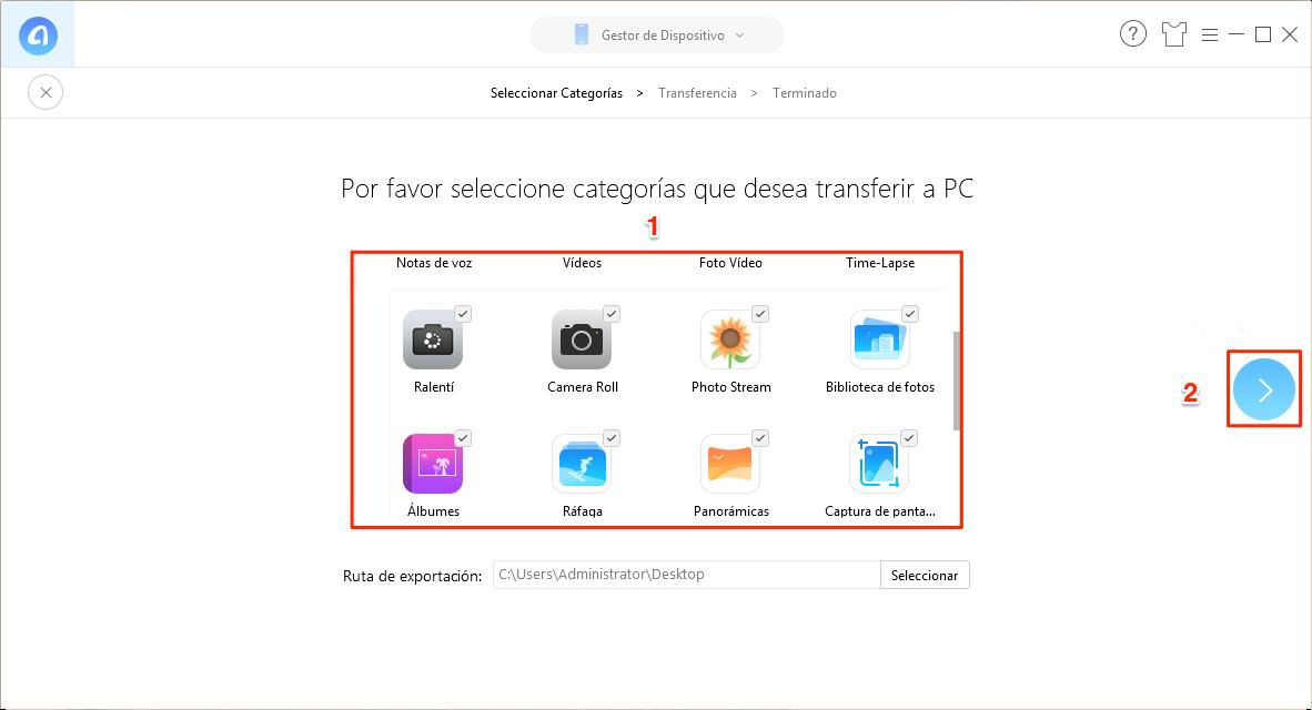 Herramienta de transferir fotos iPhone a pc - AnyTrans para iOS