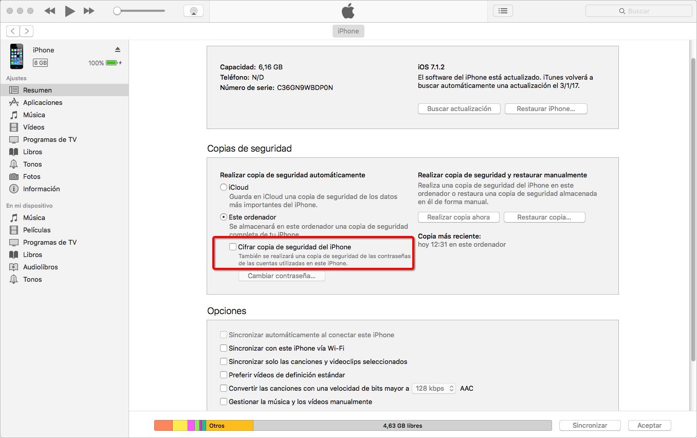 Desactivar las Copias de Seguridad Cifradas de iPhone en iTunes