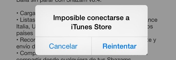 Imposible conectarse a App Store
