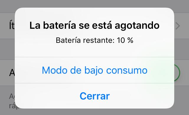 Problema con la batería en iOS 11