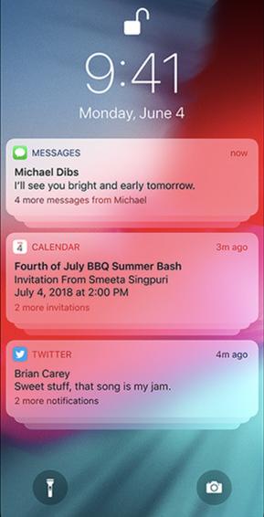 Notificación agrupada en la pantalla de bloqueo de iOS 12
