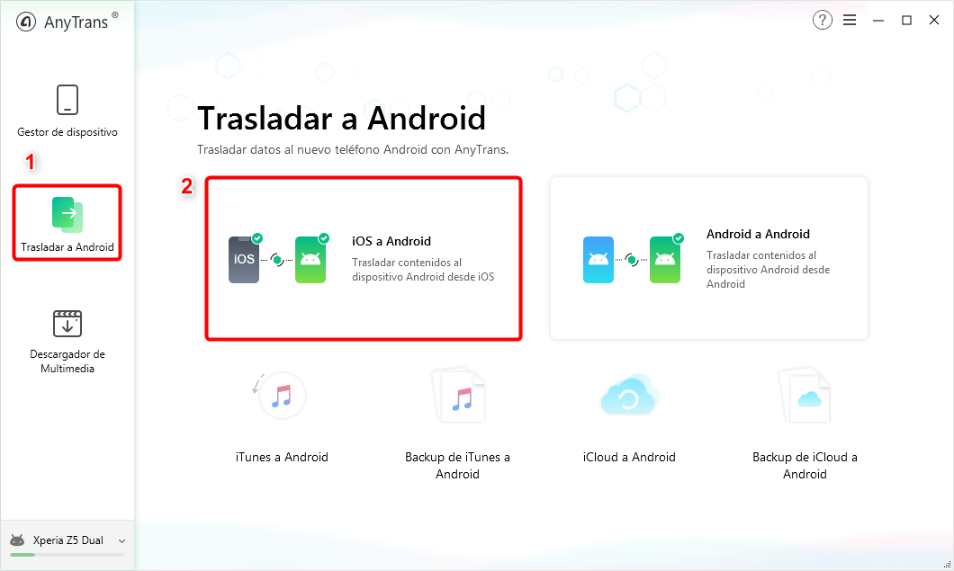 Pasar datos de iOS a Android