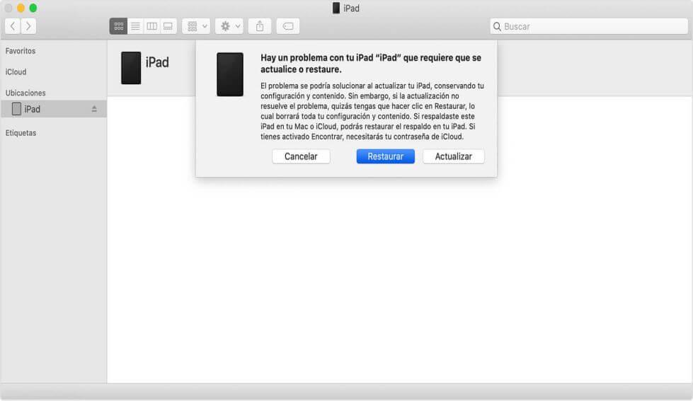 Restablecer iPad en modo de recuperación