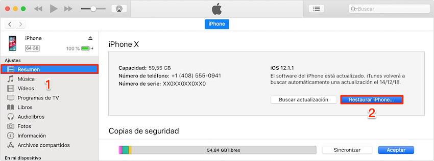 Cómo desbloquear iPhone sin contraseña - iTunes