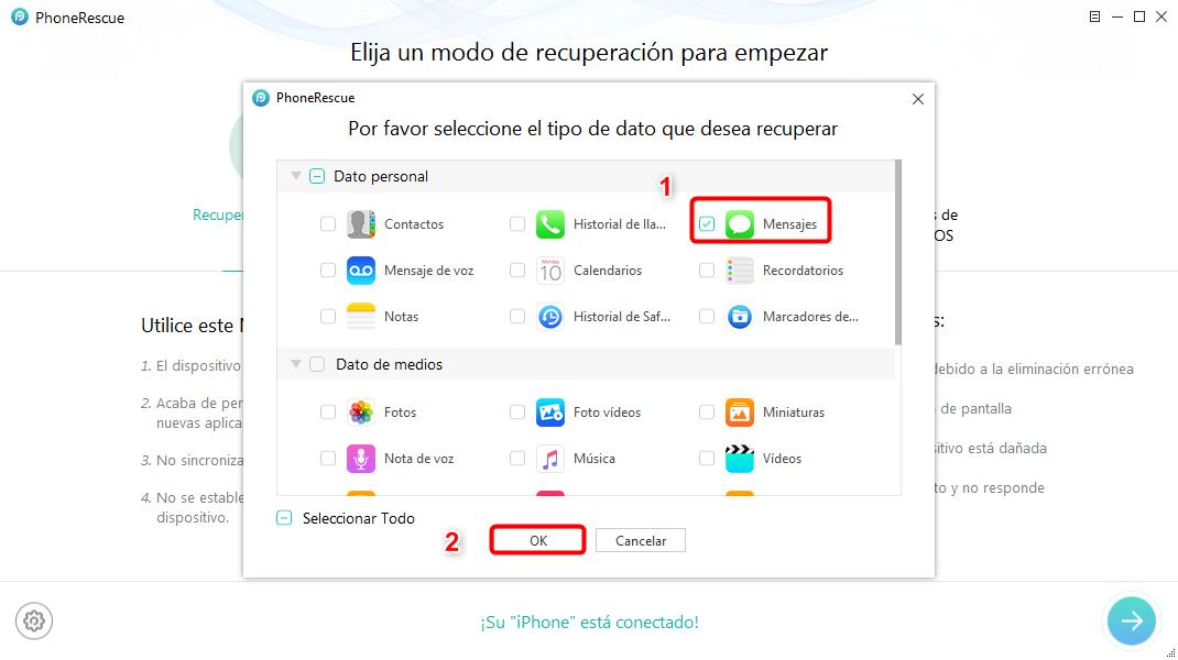 Cómo leer mensajes borrados de texto en el iPhone - Paso 2
