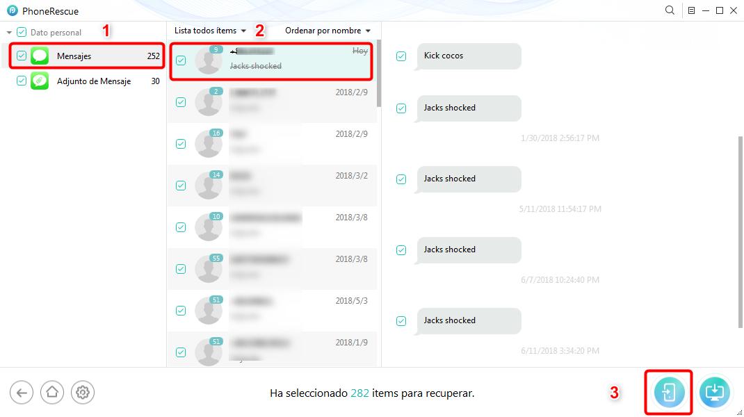 Cómo leer mensajes borrados de texto en el iPhone - Paso 3