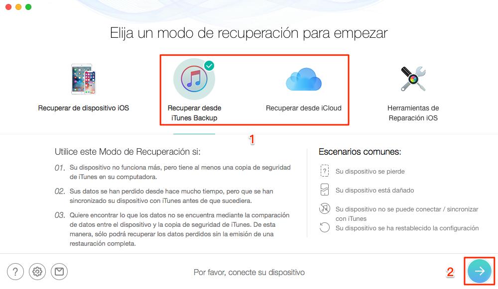 Cómo extraer copia seguridad iPhone - Paso 1