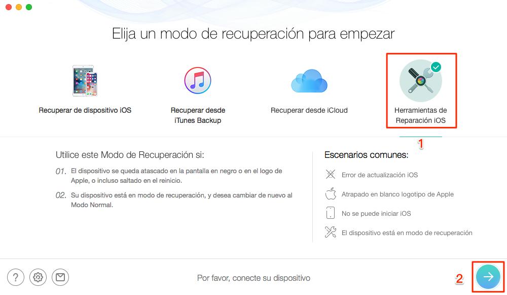 Haz clic en Herramientas de Reparación iOS