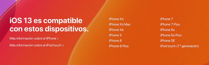 Compatibilidad de iOS 13 beta