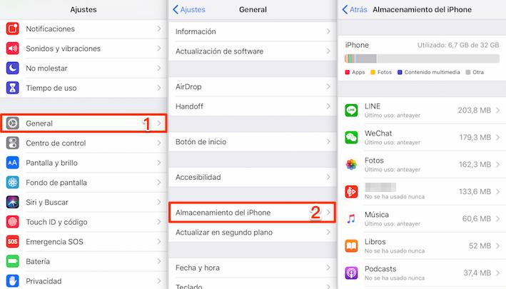 Asegúrate de tener suficiente espacio libre - Mi iPhone no se actualiza