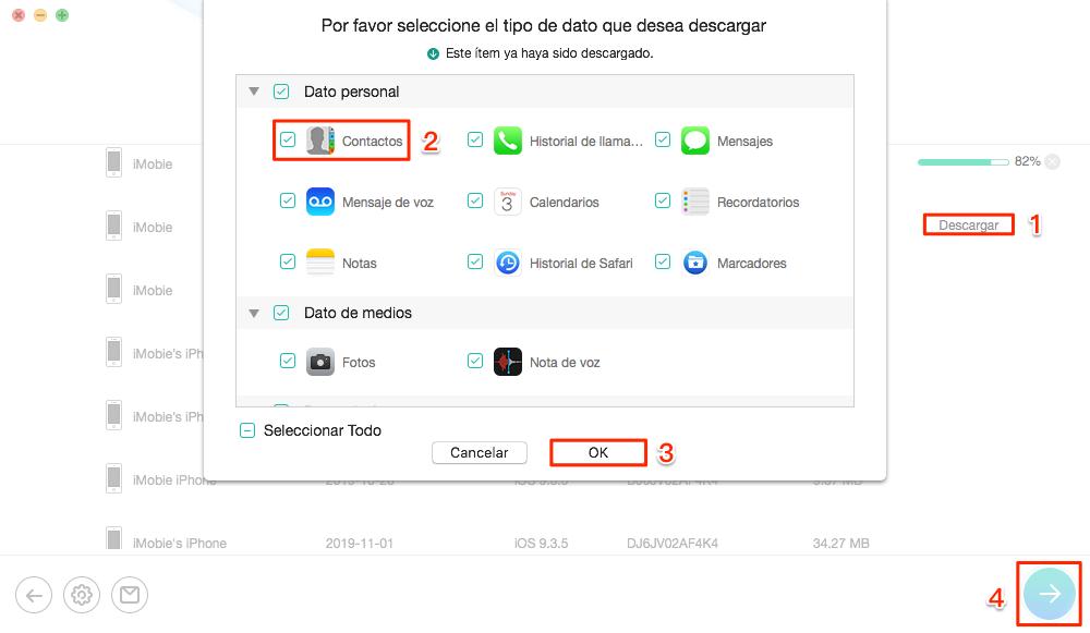 Desaparecieron mis contactos iPhone: recupera desde iCloud - Paso 3