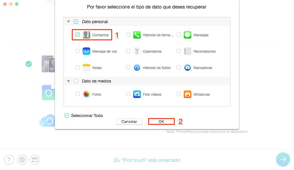 Actualización de iPhone borra contactos: Marca Contactos - Paso 2