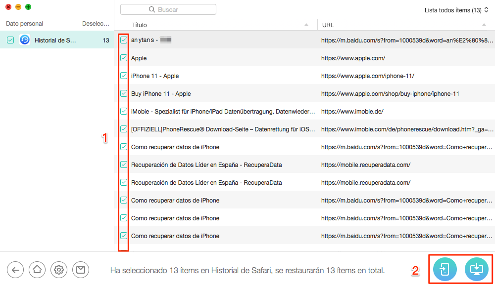 Cómo recuperar historial borrado iPhone sin copia - Paso 3