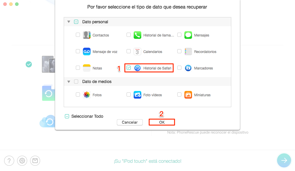 Cómo recuperar historial borrado iPhone sin copia - Paso 2