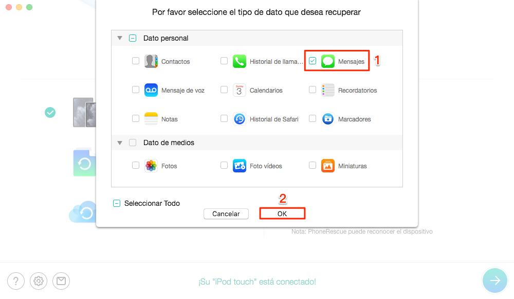 Buscar Mensajes en el iPhone 6/6s con PhoneRescue para iOS - Paso 2
